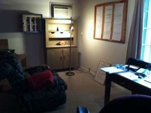 Studio and story board (with extremely comfy recliner).